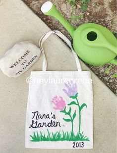 DIY Mother's Day tote (great for Grandmother gifts!) also very cute.. I wrote My Garden of Love on them and gave them to great grandparents and grand parents... huge hit