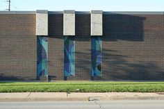 Mosaics on a building in a Chicago industrial park.