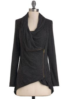 Your comfy airport outfit starts with the Airport Greeting Cardigan in Charcoal via @ModCloth. #airport #fashion