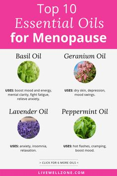 Clary sage and other essential oils for menopause are great for relieving hot flashes, weight gain and more. Learn menopause essential oils help with balancing hormones, as well as how to use essential oils as menopause remedies. List Of Essential Oils, Clary Sage Essential Oil, Essential Oil Blends, Menopause Relief, Menopause Symptoms, Menopause Diet, Peppermint Oil Uses, Hot Flash Remedies, Hormone Imbalance