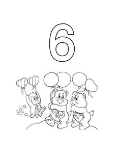 Care Bears With Balloons Coloring Pages