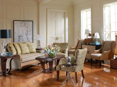 The Aiden living room set accented with Boulevard tables.