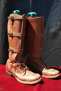 Vtg 40s WWII Cavalry BOOTS US Military Army 1941 Tanker Boots M 9.5 Leather Tall