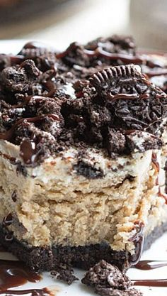 Soft, creamy Oreo filled peanut butter cheesecakes with a Oreo cookie crust. It's dangerously good. Make this dessert NOW! Peanut Butter Oreo Cheesecake, Peanut Butter Desserts, Chocolate Cheesecake, Oreo Cheesecake Recipes, Cookie Cheesecake, Chocolate Lava, Raspberry Cheesecake, Chocolate Muffins, Chocolate Chocolate