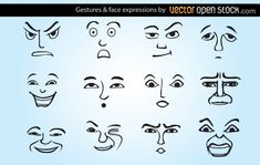 Set of gestures and face expressions. Showing several vector faces, expressing different moods and face styles. This vector set is under Creative Commons 3.0