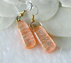 Salmon Drop Dangle Earrings in Dichroic Fused Glass by GetGlassy, $18.00