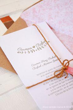Invitación de boda. Modelo sello ramas