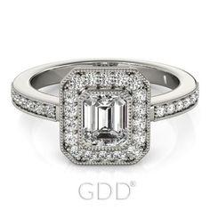 VINTAGE EMERALD CUT DIAMOND ENGAGEMENT HALO PLATINUM RING