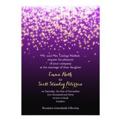 Purple sparkling lights in the sky wedding card