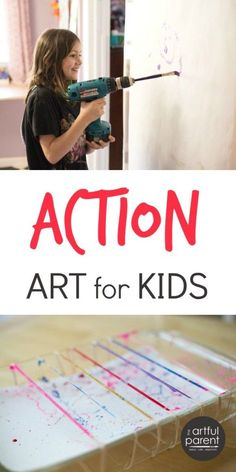 Action art is the best of childhood -- a combination of two things kids really love to do: MOVE and CREATE. This Action Art book is full of fun art ideas!
