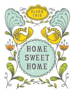 Bless This Home Sweet Home Print by Spread The Love Sweet Home, Embroidery Patterns, Hand Embroidery, Interiors Magazine, Paper Crafts, Diy Crafts, Home Signs, Art Director, Best Gifts