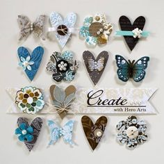 hearts, flowers and butterflies card layout. Really like the little extras ~ make a card or scrap page special Paper Crafts, Diy Crafts, Candy Cards, Scrapbook Embellishments, Butterfly Cards, Heart Cards, Card Tags, Card Kit, Scrapbook Cards
