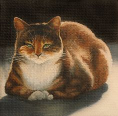 Miniature Cat Oil Painting 3 x 3 with by MysticMeadowStudio, $55.00