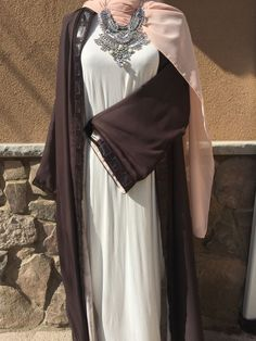 4ce410c95 Mocha/Dusty Pink Reversible Abaya with sequin trimming and Nude Pink  Chiffon hijab Abaya Fashion