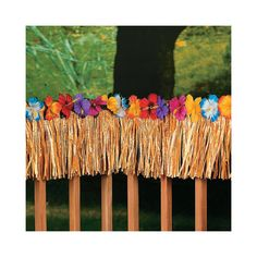 """Decorations: Hibiscus Fringe Decoration - OrientalTrading.com $16 Each.  24-ft. plastic fringe decoration is trimmed with bright polyester flowers. This artificial grass decoration is in a natural color. 12"""""""