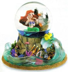Disney Little Mermaid, Scuttle, Flounder Snowglobe