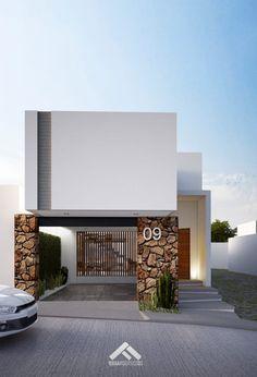 Busca imágenes de Casas de estilo minimalista en blanco: FACHADA PRINCIPAL. Encuentra las mejores fotos para inspirarte y crea tu hogar perfecto.