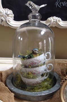 Spring Home Decor, Spring Crafts, Apothecary Jars Decor, Cloche Decor, Muebles Shabby Chic, Decoration Vitrine, Craft Projects, Projects To Try, Seasonal Decor