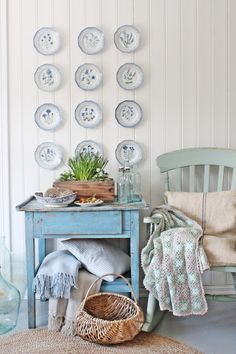 Cottage style decorating in the home tour of Vibeke Design. Nestled in Norway, the cottage is filled with charming ways to display what you love. Vintage Furniture, Painted Furniture, Chic Retro, Deco Pastel, Pastel Blue, Decoration Shabby, Wall Decorations, Vibeke Design, White Plates