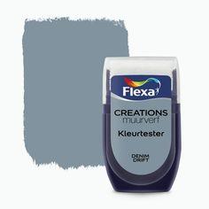 Flexa Creations muurverf kleurtester denim drift 30 ml Tips And Tricks, Wall Colors, House Colors, Colours, Denim Drift, Shutter Decor, Paint Paint, Latte, Valentines Day For Him