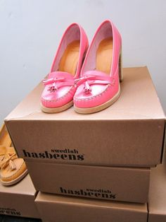 Swedish Hasbeens high heeled loafers