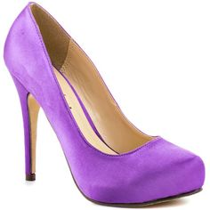 Feel the love in these perfect everyday pumps from Michael Antonio. Love Me is a purple satin covered round toe 4 1/2 inch heel; this style is completed with a 1/2 inch hidden platform. Grab a pair of these work or play heels before they're gone!