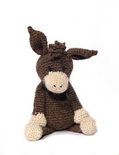 """Angharad the donkey - crochet patterns by Kerry Lord for sale - also featured in her book """"Edward's Menagerie"""""""