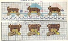 Cross Stitch For Kids, Cross Stitch Borders, Cross Stitch Baby, Cross Stitch Animals, Cross Stitch Charts, Cross Stitching, Cross Stitch Patterns, Baby Embroidery, Ribbon Embroidery