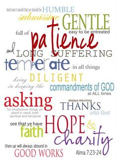 Great graphic for your missionary's wall! Print and mail! # Alma 7: 23-24 # Missionary