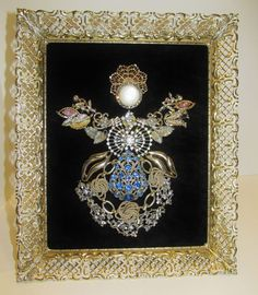 Vtg Rhinestone Jewelry Collage Framed Christmas Tree Art Angel Handmade OOAK