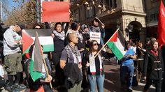 Comunidad Palestina y santiaguinos se manifestaron en el paseo Ahumada.