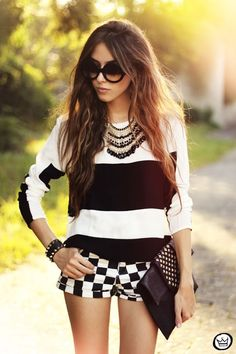 Love this monochrome look. Fun and creative .  Add a splash of red accessories to complete it !!  Or add contrast colour shoes and bag x