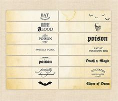 Halloween labels for candy