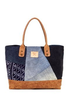 Leather Batik Patchwork Tote