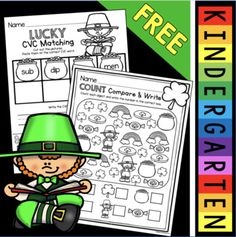 Patrick's Day Activities for Kindergarten and First Grade Worksheets - FREE St. Patrick& Day Activities for… by Keeping My Kinders Busy Kindergarten Names, Kindergarten Activities, Preschool Literacy, Spring Activities, Common Core Math Standards, Spelling Patterns, First Grade Worksheets, Math Graphic Organizers, Math Notebooks