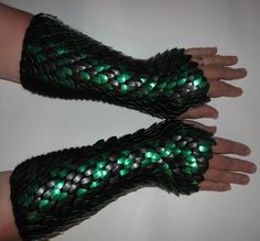 Scale Maille Gauntlets Knitted Dragonhide Armor by Crystalsidyll, $119.00