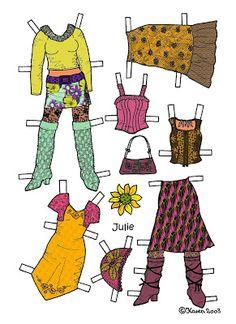 Karen`s Paper Dolls: Julie 1-4 Paper Doll in Colours.Julie 1-4 påklædningsdukke i farver.
