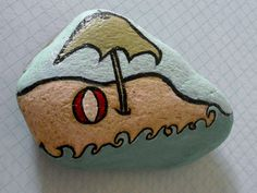 Beach hand painted Rock large paper weight by dayofthedeadinspired, $21.00