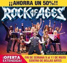 ¡¡¡OFERTA EXTENDIDA!!! ► 50% DESCUENTO para las funciones del fin de semana del 9 al 11 de mayo de ROCK OF AGES. >> http://www.ticketpop.com/es/events/detail/rock-of-ages  * Esta oferta no aplica a otros descuentos ni ventas previas.
