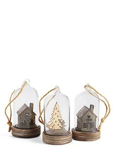 Buy the 3 Pack Wooden House & Deer Scene Led Baubles from Marks and Spencer's range. Christmas Baubles, Christmas Tree Decorations, Holiday Decor, Christmas Mood, All Things Christmas, Wooden House, How To Make Ornaments, Xmas Tree, Green And Gold