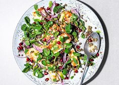 Lemony lentil summer salad recipe made with pre-cooked puy lentils, juicy pomegranate seeds, griddled halloumi and fresh watercress