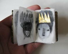 Cathy Cullis- More like an artist book then a zine, but I really love the simplicity of her drawings, and focus on using interesting paper and materials like the gold crown to add meaning and appeal. Altered Books, Altered Art, Art Postal, Instalation Art, Buch Design, Illustration Art, Illustrations, Book Journal, Art Journals