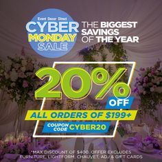 Grab 20% OFF all orders of $199+ with coupon code: CYBER20. Our BIGGEST SAVINGS of the year with 1,000 of products sold at LIQUIDATION prices. Don't miss out!! Event Decor Direct, Cyber Monday Sales, Buying Wholesale, Coupon Codes, Wedding Decorations, Coding, Cards, Products, Wedding Decor