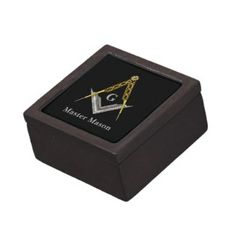 Masonic Square and Compass w/ inset G Trinket Box Premium Trinket Box