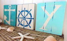 Nautical Christmas Beach Sign Set Joy to The World - Blue - Coastal Holiday Decor