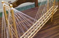 DIY suspension bridge construction useing wood   ... bridge design made with standard round toothpicks and wood glue