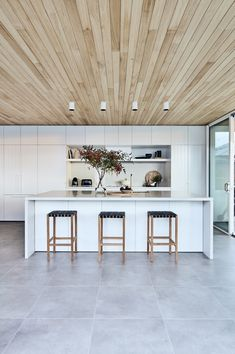 My Ideal House - kitchen, white kitchen with timber cladding on the ceiling