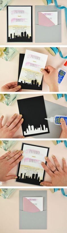 A super easy and affordable DIY laser cut wedding invitation! See how to use Cards and Pockets laser slide-in cards to dress up a simple wedding invitation. Cityscape card comes in six different designs. Click through for the tutorial and link to this fre Free Wedding Invitation Templates, Wedding Invitation Inspiration, Laser Cut Wedding Invitations, Wedding Inspiration, Invites, Plan Your Wedding, Wedding Blog, Diy Wedding, Trendy Wedding
