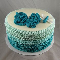 Teal buttercream ruffle cake! | by Sugarushbakery