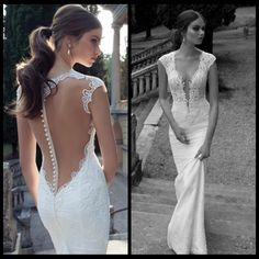 Berta Winter 2014 Lace Sheer Wedding Dresses Deep V Neck Backless Covered Button Mermaid Court Train Wedding Bridal Dresses US $199.00